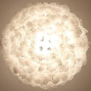 Image 2 - לופט מודרני לבן טבע אווז נוצת תליון אורות רומנטי E27 led תליון מנורות לבית מסעדת חדר שינה סלון