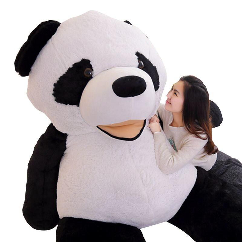 Dorimytrader JUMBO doux dessin animé Panda en peluche jouet plus grand sourire Panda jouet oreiller grand cadeau 102 pouces 260 cm DY60396