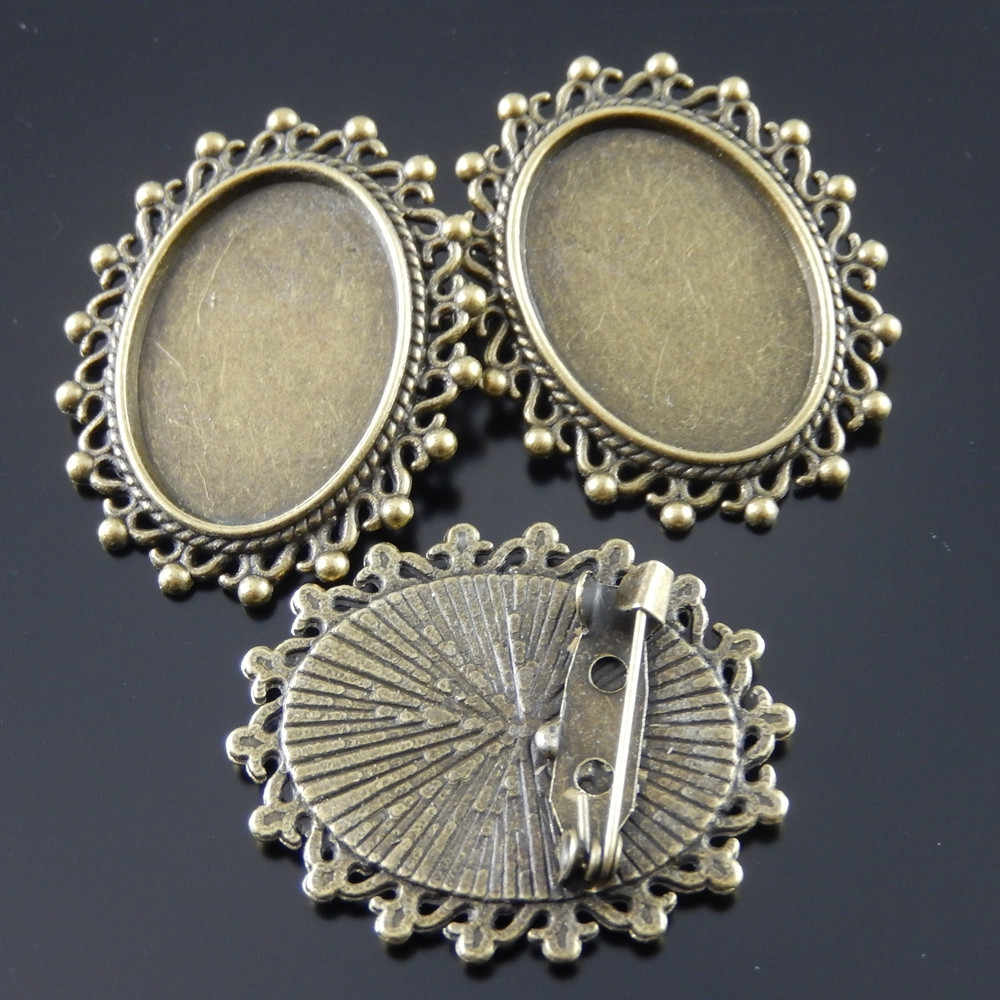 10pcs lot Vintage Women Antique Style Bronze Tone Zinc Alloy Cameo Tray Cabochon Setting  25*18mm  Brooch Pins 36*30*2mm AU33105