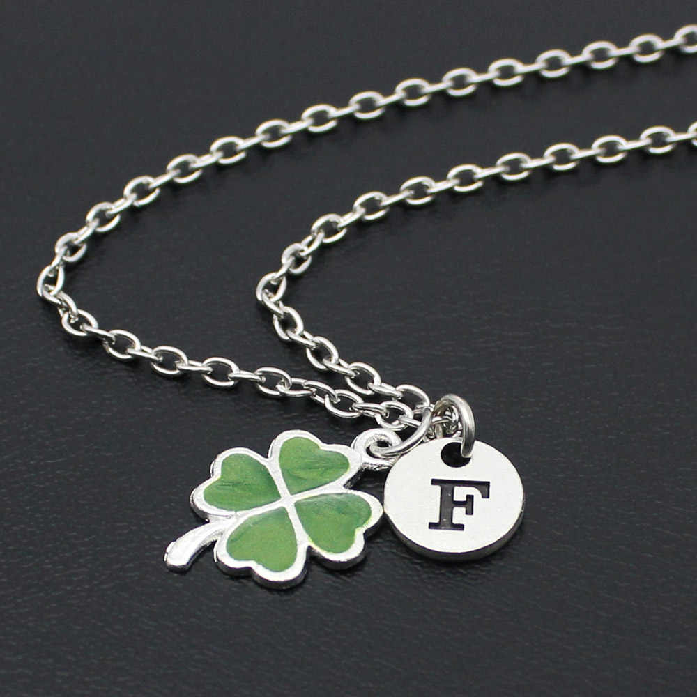 2018 New Fashion Four Leaf Clover Necklace With Alphabet Letter For Women Party Gift