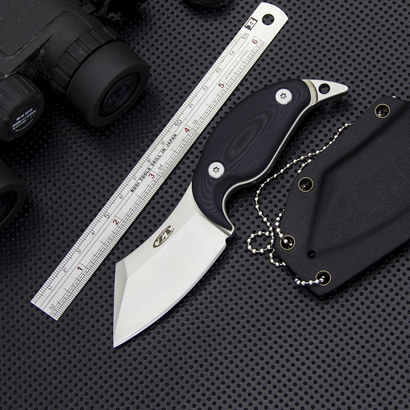 Full Tang ZT Utility Fixed Blade Knife D2 Steel Tactical Neck Knife EDC Outdoor Straight Knives Hunting Tools Self Defense ToolsFull Tang ZT Utility Fixed Blade Knife D2 Steel Tactical Neck Knife EDC Outdoor Straight Knives Hunting Tools Self Defense Tools