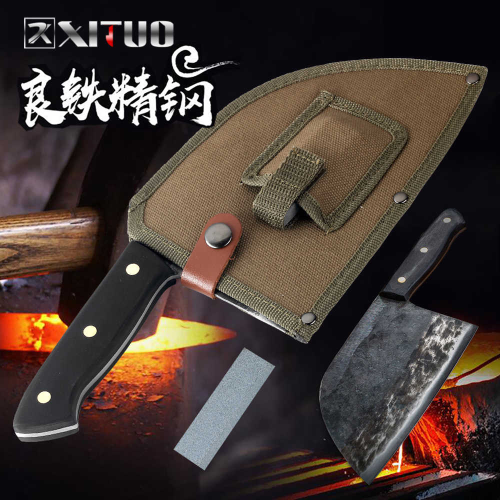 XITUO Kitchen Knife Chef Knives Handmade Forged Full Tang High-carbon Clad Steel Professional butcher knife Cleaver Meat Santoku