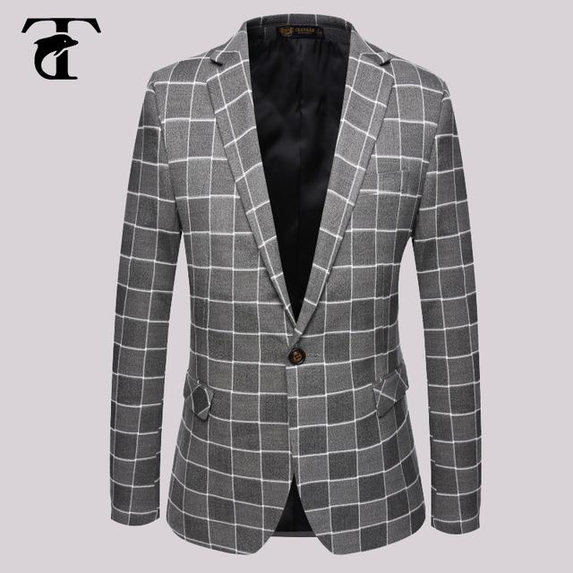 2016 El Más Nuevo Estilo Al Por Mayor Con Muesca Solapa Traje Masculino Chaqueta All Seasons Slim Fit Tuxedo Blazer Hombre Hombres Comprobar Blazer