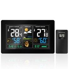 3378 беспроводной метеостанции стены цифровой будильник барометр термометр гидрометр сенсор прогноз погоды Красочные ЖК дисплей
