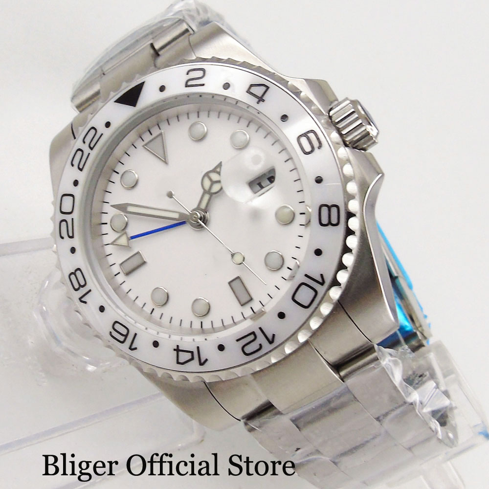 Business Style Nologo Automatic Mens Watch With Date Magnifier Sapphire Glass 40mm Wristwatch GMT FunctionBusiness Style Nologo Automatic Mens Watch With Date Magnifier Sapphire Glass 40mm Wristwatch GMT Function