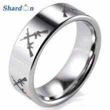 Здесь можно купить  SHARDON EM16 CROSSED Firearm Design Ring Engraved Flat Tungsten Ring  Men