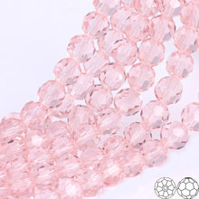 OlingArt 3/4/6/8mm Round Glass Beads Rondelle Austria 32 faceted crystal Pink color Loose bead DIY Jewelry Making