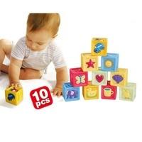 10PCS/Set Baby Blocks Toys Non toxic Soft Plastic Cartoon Cube Building Children Educational Soft Rubber Blocks
