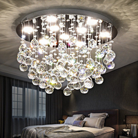 Crystal Light led simple modern warm romantic creative round book room restaurant living room ceiling light TA9159