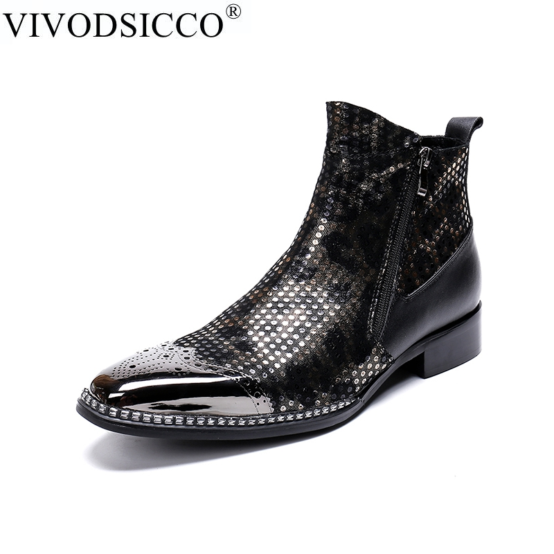 VIVODSICCO Fashion Men Ankle Boots Pointed Toe Botas Hombre Zip Botas Militares Wedding Dress Shoes Mens Cowboy Boots Masculina handsome red genuine leather men ankle boots metal pointed toe mens wedding dress shoes high top botas hombre cowboy boots