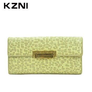 795b3fab7 KZNI Cartera de diseñador Para Mujer monederos Cartera de cuero genuino  portefeulle Mujer Billeteras Para Mujer 2051