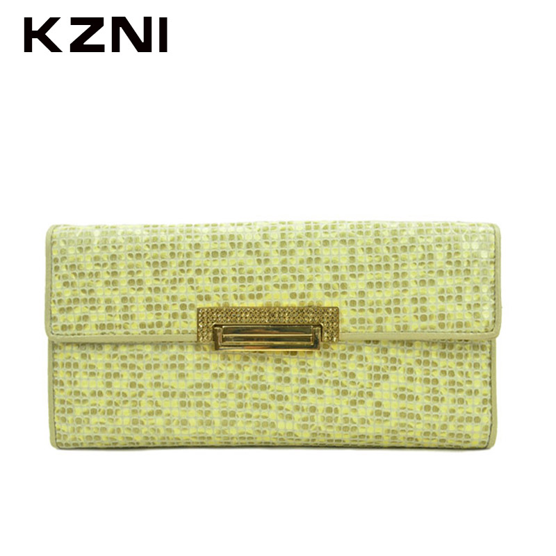 KZNI Wallet Female Designer Women Purses Genuine Leather Purse Portefeuille Femme Billeteras Para Mujer 2051 women female bow famous brand designer hello kitty leather long wallets purses carteira feminina couro portefeuille femme 40