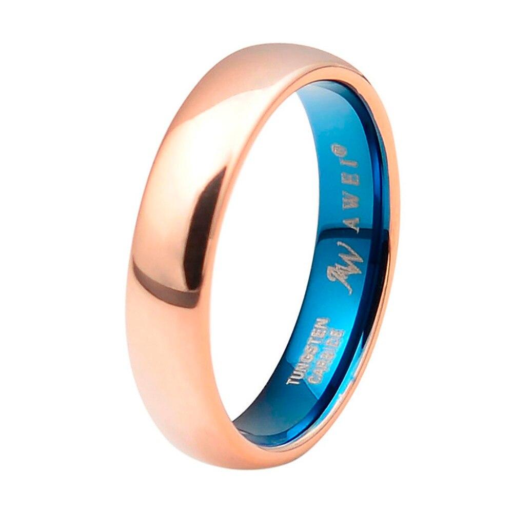 Rose Gold Over купол полированной comfort fit вольфрама кольцо Обручальное украшения для женщин и мужчин, 5 мм широкий, размер 5-15 ...