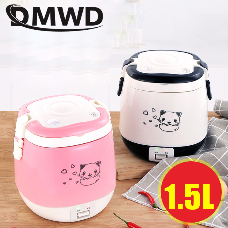 DMWD 1.5L MINI Electric Rice Cooker Portable Cooking Steamer Multifunction Food Container Soup Pot Heating Lunch Box 1-3 people dmwd 12v 24v mini rice cooker car truck soup porridge cooking machine food steamer electric heating lunch box meal heater warmer