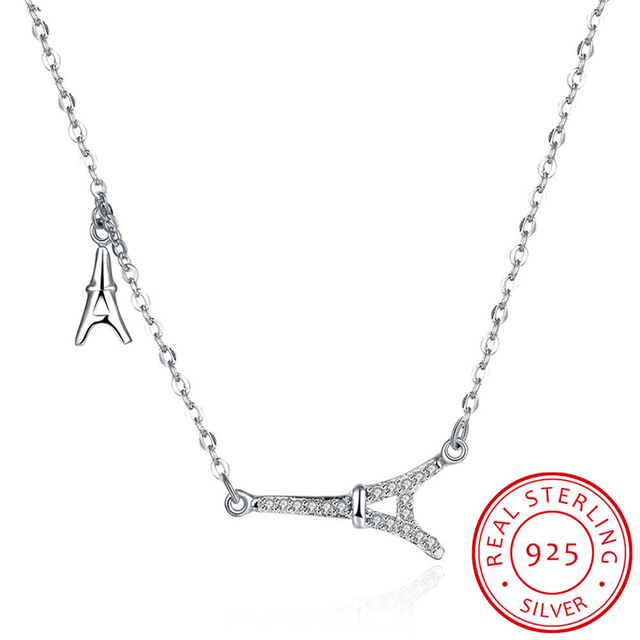 Hermosa luxury 925 sterling silver eiffel tower pendant necklace hermosa luxury 925 sterling silver eiffel tower pendant necklace with cubic for women party jewelry gift aloadofball Image collections