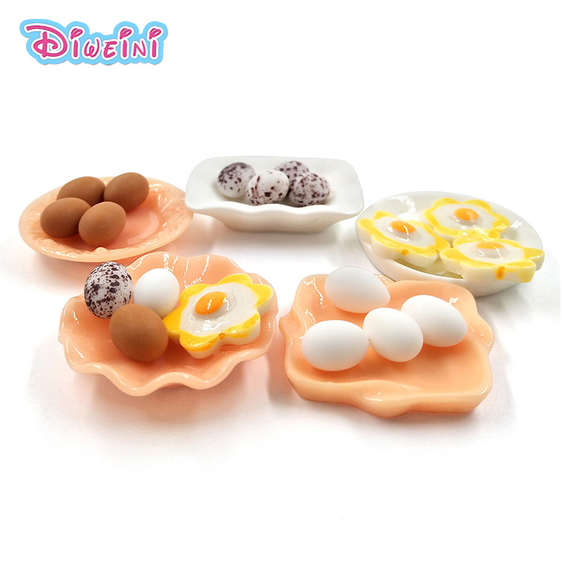 10pc Dollhouse Miniature Simulation Eggs Food Model Pretend Play Kitchen Toys