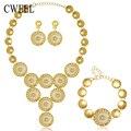 Conjuntos de jóias Africano Contas de Colar Declaração Colar Brincos Pulseira Novos Anéis Para As Mulheres Imitado CZ Acessórios Do Partido Do Vintage
