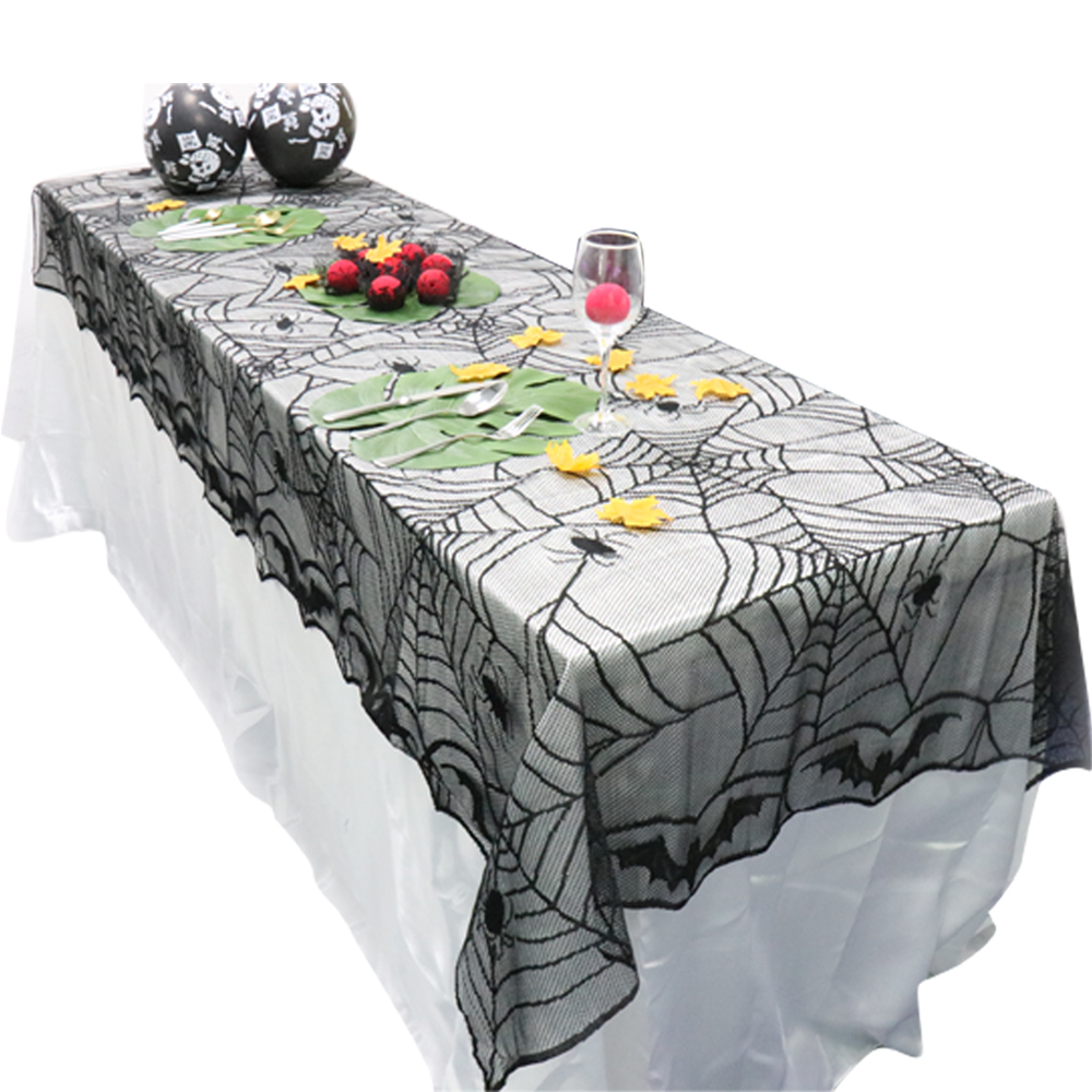 1pcs 240 120cm Rectangle Lace Black Spider Web Halloween Tablecloth Tablecover Overlay