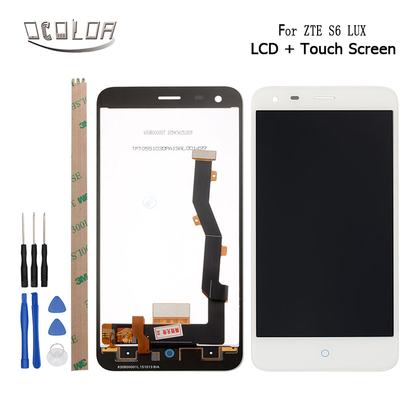 ocolor For ZTE Blade S6 Lux LCD Display and Touch Screen Screen Digitizer Replacement +Tools And Adhesive For ZTE Blade S6 Lux
