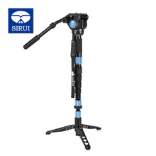 Free Shipping Sirui P-326S P326S Carbon Fiber Monopod Tripod For Camera VH10 Hydraulic Head 6 Joint Tripod Bag Loading 10kg