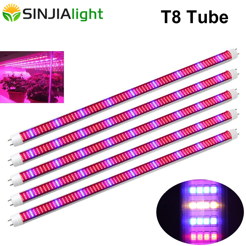 5pcs/lot 60cm/90cm/120cm T8 Tube LED Grow Light Bar 30/45/60W Full Spectrum Plant Lamp phytolamp hydroponic greenhouse grow tent