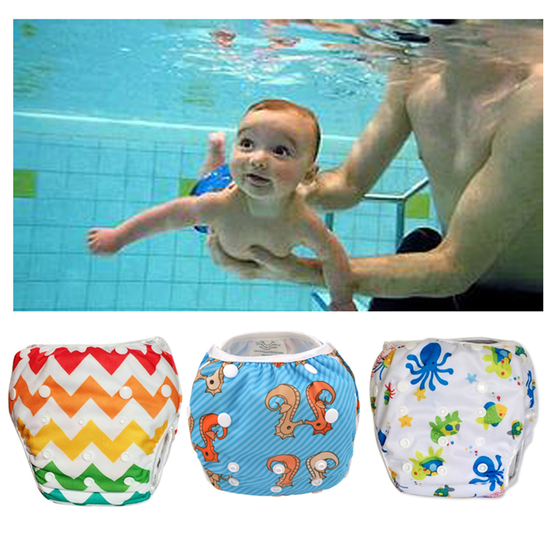 Baby Swim Diapers Adjustable Swim Nappies Reusable Washable Swim Pool Pants 1 2 3 4 5 6 7 8 9 10 11 12 Month Year Poo Leakproof