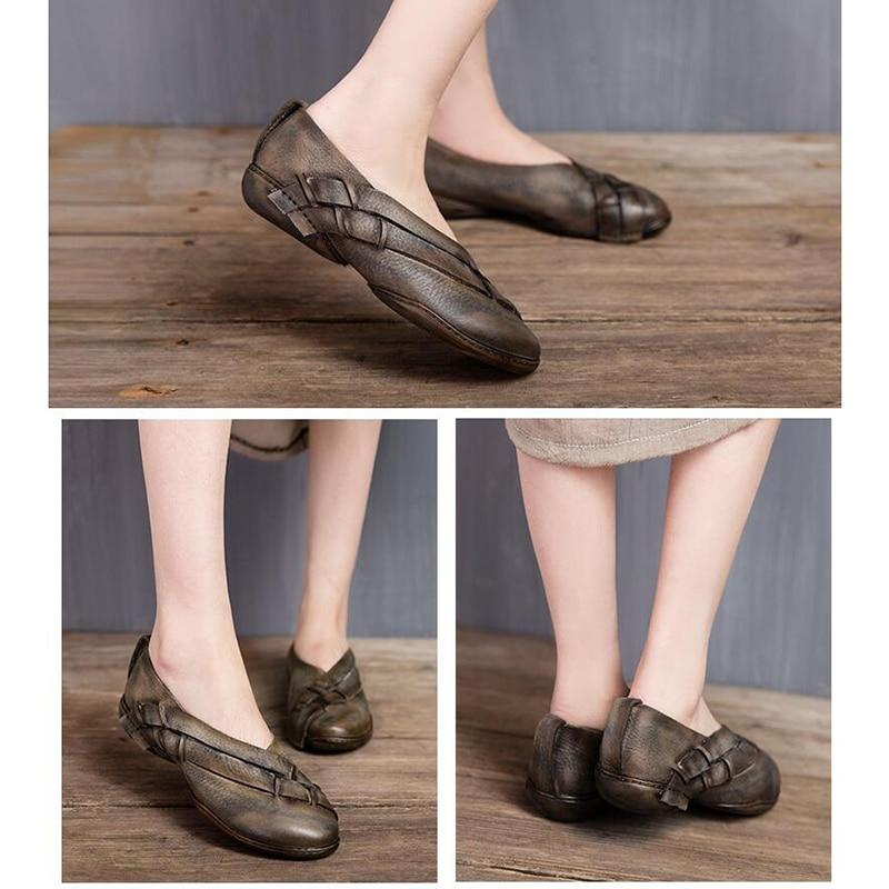 Mujer D'été 1 Rétro Fait Véritable Nouveau Ballerines Mou 2 Main Zapatos Chaussures En Fond Femmes Plates Cuir xPZZw6