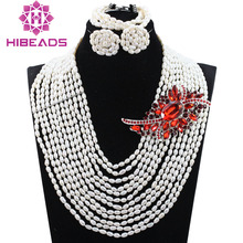 Beautiful Wedding white Pearl Necklace Jewelry Set Natural Freshwater Rice Pearl for Women Party Stud Earrings Set QW1117
