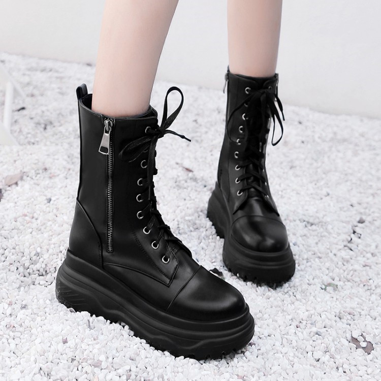 BLACK YELLOW CHUNKY BLOCK HEEL LACE UP BIKER COMBAT PLATFORM ANKLE BOOTS SHOES