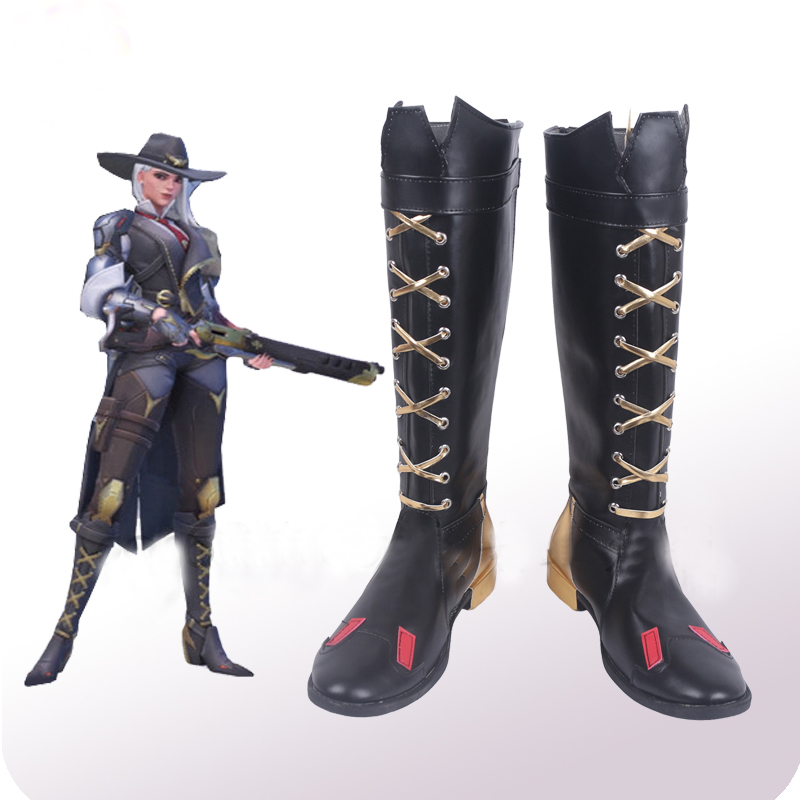 OW Ashe Black Cosplay Shoes Boots Halloween Carnival Party Costume Accessories