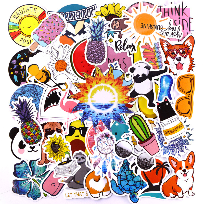 50 PCS Summer Cute Vsco Stickers For Luggage Laptop Decal Skateboard Stickers To DIY Bike Car Motorcycle Fridge JDM Cool Sticker