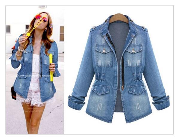 6941457d03e42 Europea 2017 manga larga Denim chaqueta mujer jeans Womens bombardero  chaqueta femenina de gran tamaño corto abrigo casaco feminino en Chaquetas  básicas de ...