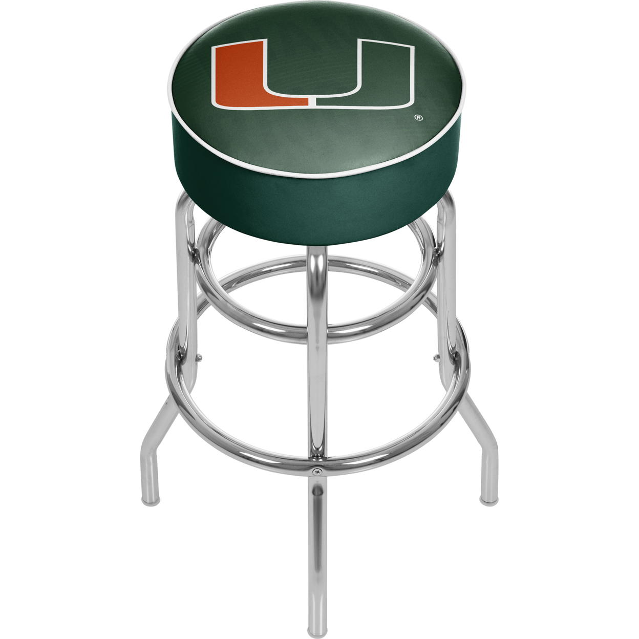 University of Miami Chrome Bar Stool with Swivel - Wordmark