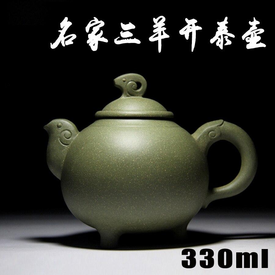 Authentique Yixing théière célèbre théière à la main le vert argile Sanyangkaitai en gros et au détail 0770