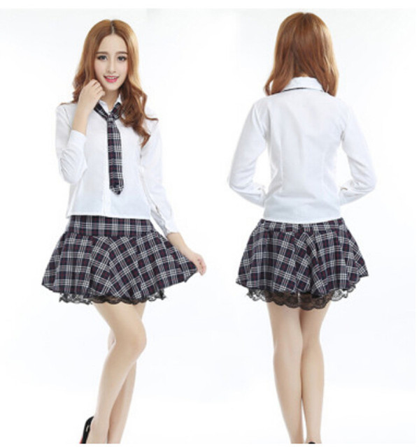 ece76aab0 Free Shipping Hot Sale New High College Girl School Uniform Sailor Uniform  Japan Korea Long Sleeve Shirt Black Plaid Skirt