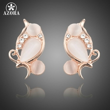 AZORA Unique Rose Gold Color Lovebirds Design With Stellux Austrian Crystal Clip Earrings TE0246(China)