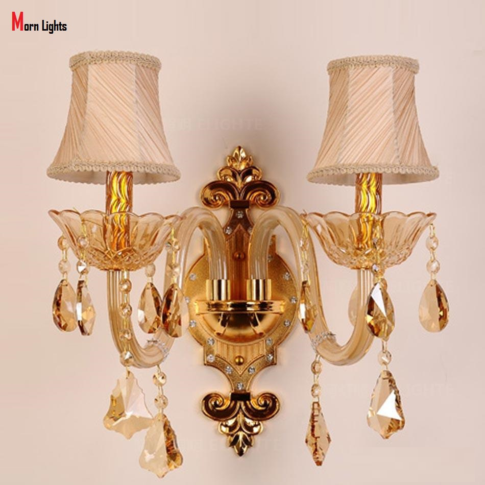 Free Shipping Golden K9 crystal wall lamp mirror light bedroom lamp bed-lighting aisle lights fashion modern wall lamp brass buckle titanium plate gold crystal wall lamp k9 crystal sitting room bedroom mirror light