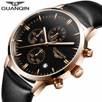 GUANQIN Quartz Watch Mens Watches Top Brand Luxury Chronograph Clock Men Sport Waterproof Leather Wristwatch Relogio