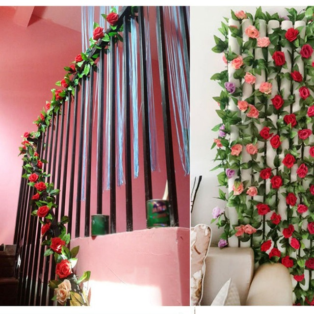 4 Colors 25M Artificial Rose Garland Flower Vine Ivy Home Wedding Garden Floral Decor Decorative Flowers