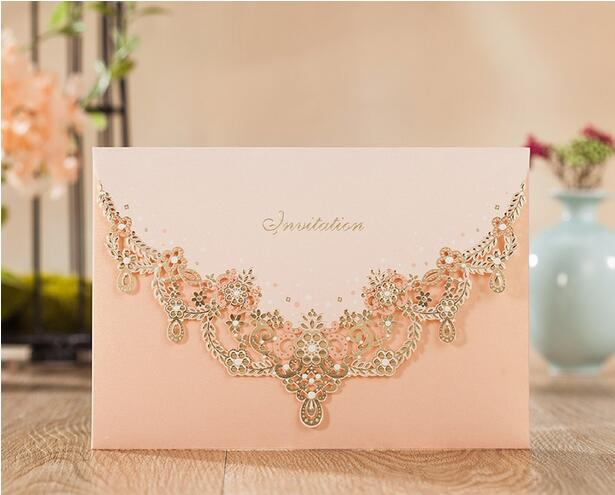 Laser Cut Personalized Luxury Jewellery Decoration Wedding Invitations Card Envelopes & Inner ...