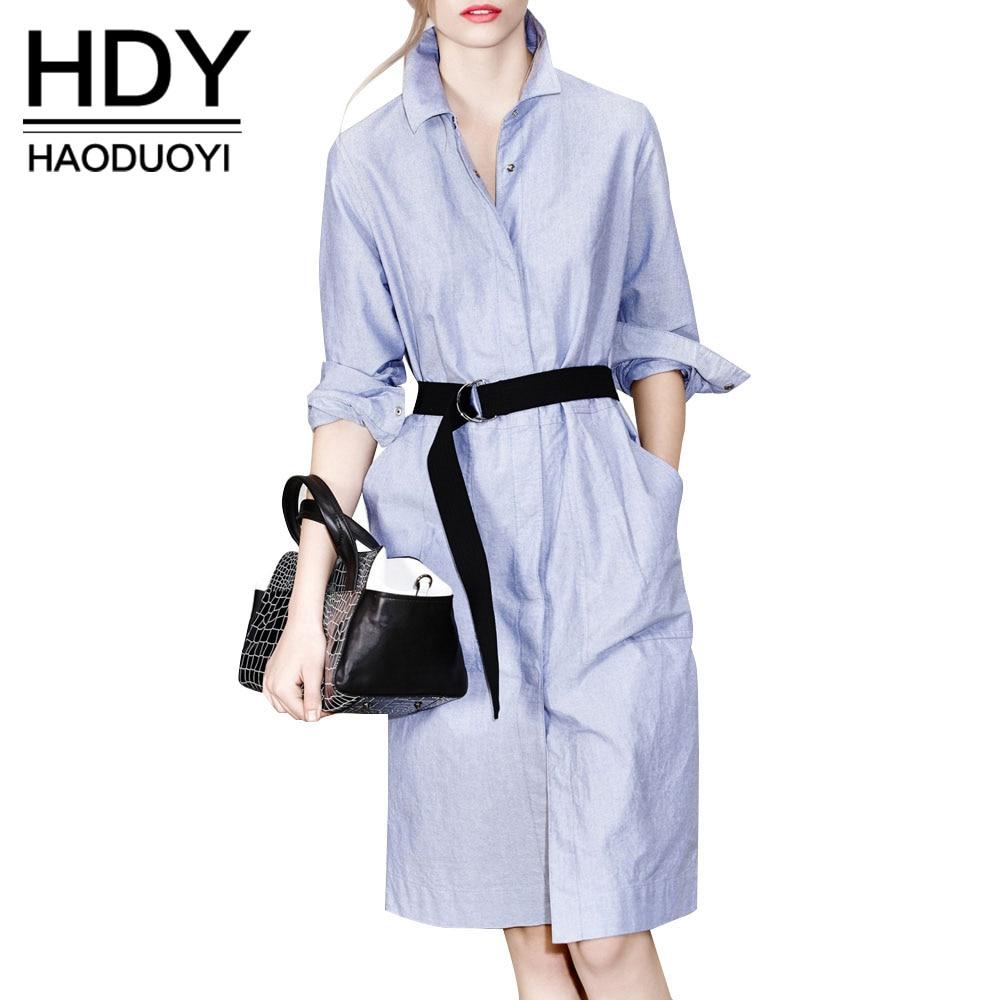 HDY Haoduoyi Твердые Стенд ошейник с длинным рукавом до колен платье Повседневное краткое Однобортный галстук карман на поясе платье-рубашка