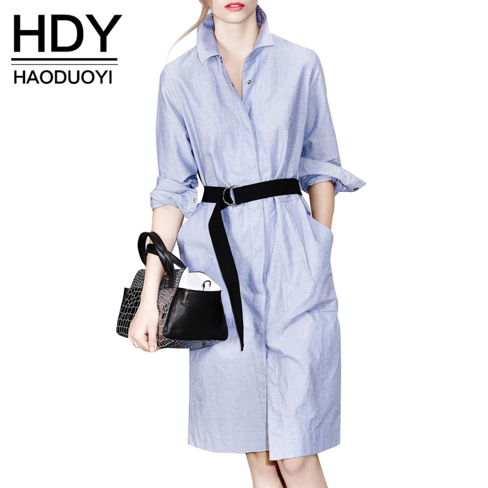 HDY Haoduoyi Fashion Blue Knee-lengt Dress Women Stand Collar Long Sleeve Casual Dress Single Breasted Tie Waist Shirt Dress