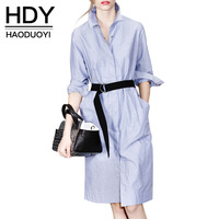 HDY Haoduoyi Autumn Casual Women Top Blue Sash Slim Long Shirtdress Stand Collar Fashion Trend In