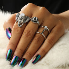 1 Set Hollow Out Animals Vintage Knuckle Rings for Women Boho Geometric Flower Crystal Ring Set Bohemian Finger Jewelry(China)