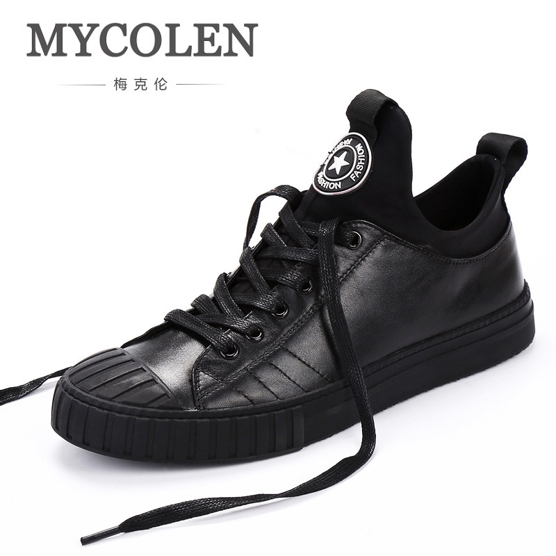 MYCOLEN New High Top Winter Casual Men Shoes Lace-up Breathable Men Shoes Genuine Leather Black Flat Shoes Zapatillas Hombre casual dancing sneakers hip hop shoes high top casual shoes men patent leather flat shoes zapatillas deportivas hombre 61