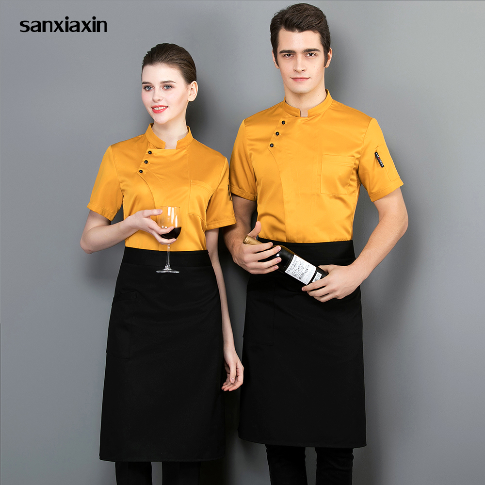 New High Quality Short Sleeved Shirt Restaurant Hotel Kitchen Chef Uniform Breathable Cooker Coat Chef Jackets Work Clothes For