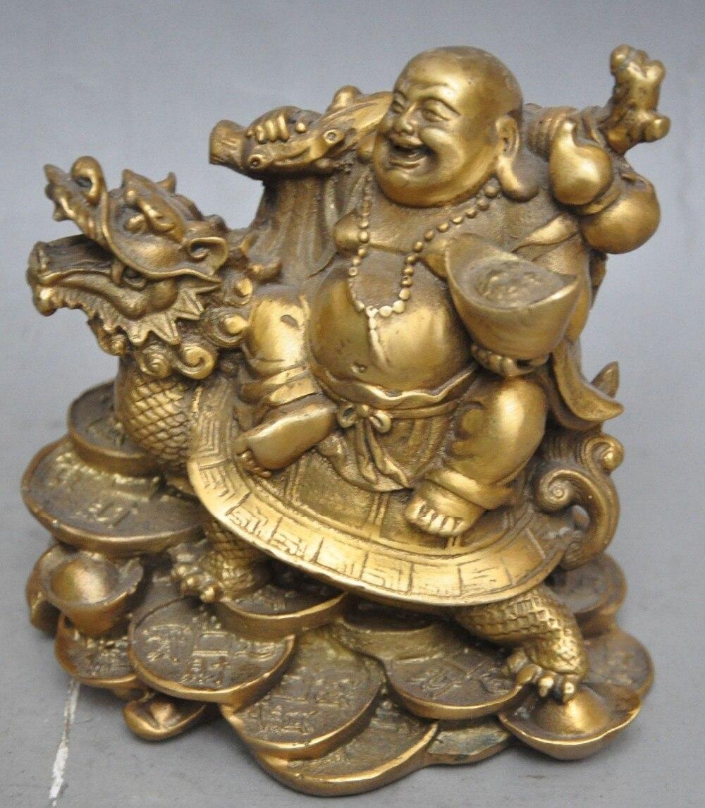 Laiton chinois richesse argent pièce lingot Maitreya bouddha dragon tortue statue métal artisanat décorations