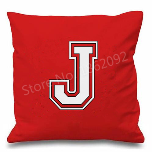 Red letter cushion cover initial throw pillow case for Funky household gifts
