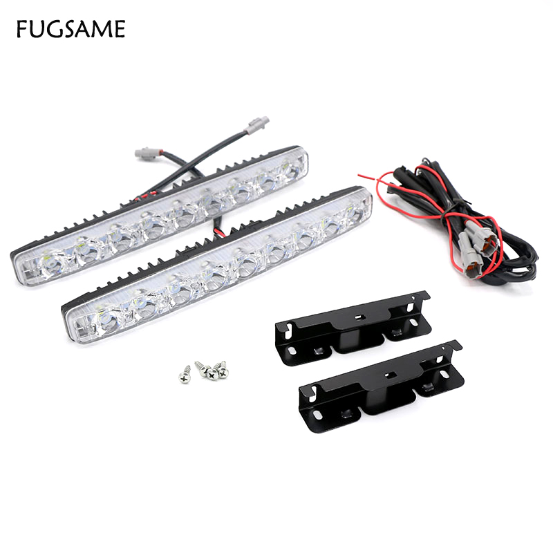 FUGSAME LED 12V 6000K 18W Car Led Daytime Driving Running Light DRL Fog Lights Head Lamp 12v Universal