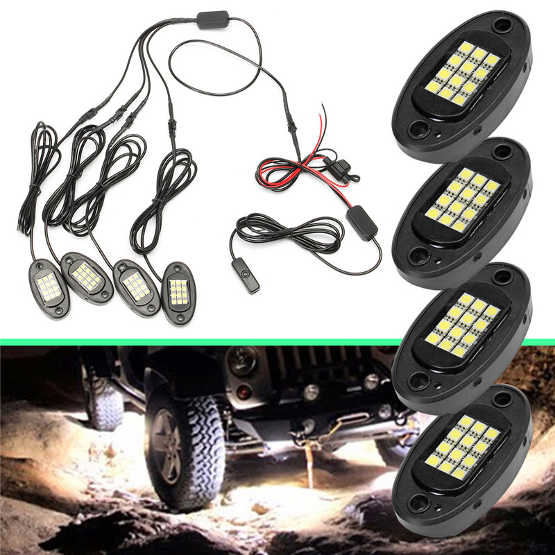 4Pcs Universal 12W LED floor Light White Side Lamp for Boat Car Decorative Light IP68 Waterproof Rock light